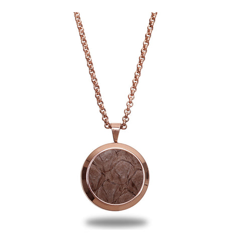 Atlantic Salmon Leather Pendant Rose Gold-Tone ▪ Taupe