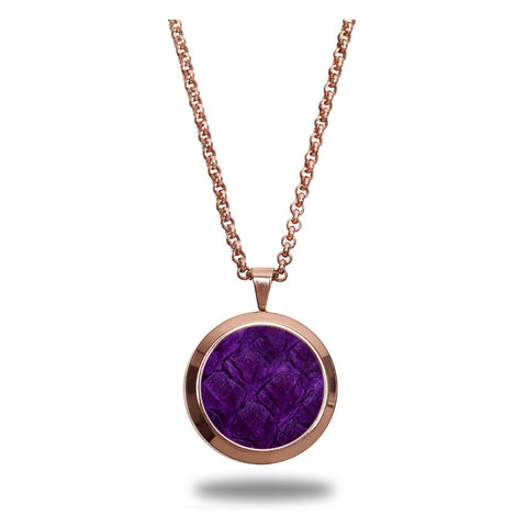 Atlantic Salmon Leather Pendant Rose Gold-Tone ▪ Purple