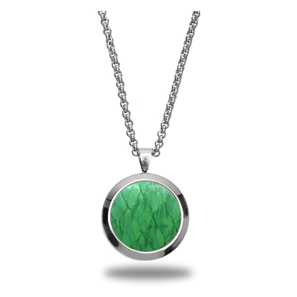 Atlantic Salmon Leather Pendant Silver-Tone ▪ Light Green - Marlín Birna Ltd.