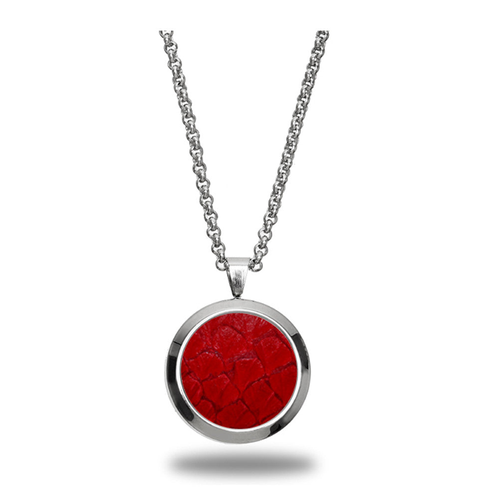 Atlantic Salmon Leather Pendant Silver-Tone ▪ Red - Marlín Birna Ltd.