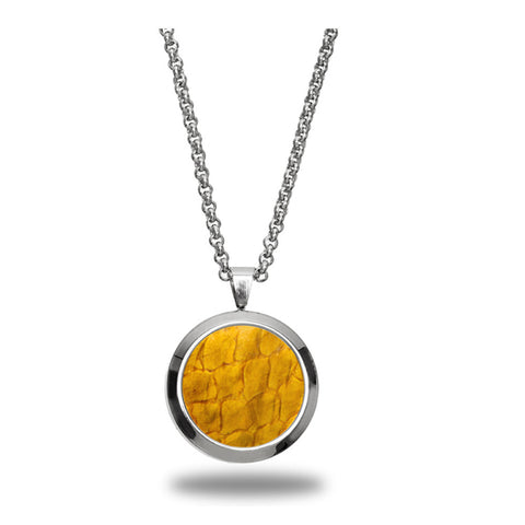 Atlantic Salmon Leather Pendant Silver-Tone ▪ Yellow