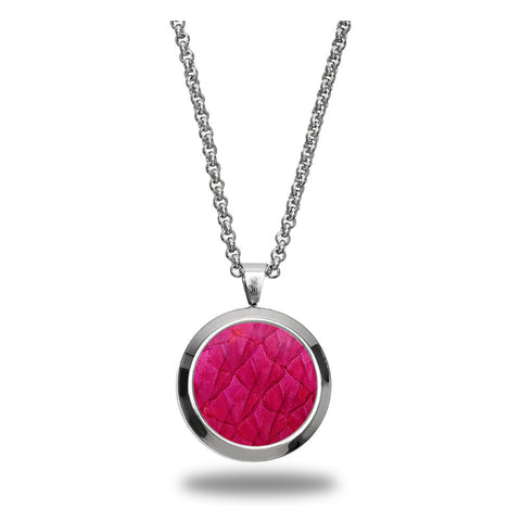 Atlantic Salmon Leather Pendant Silver-Tone ▪ Fuchsia