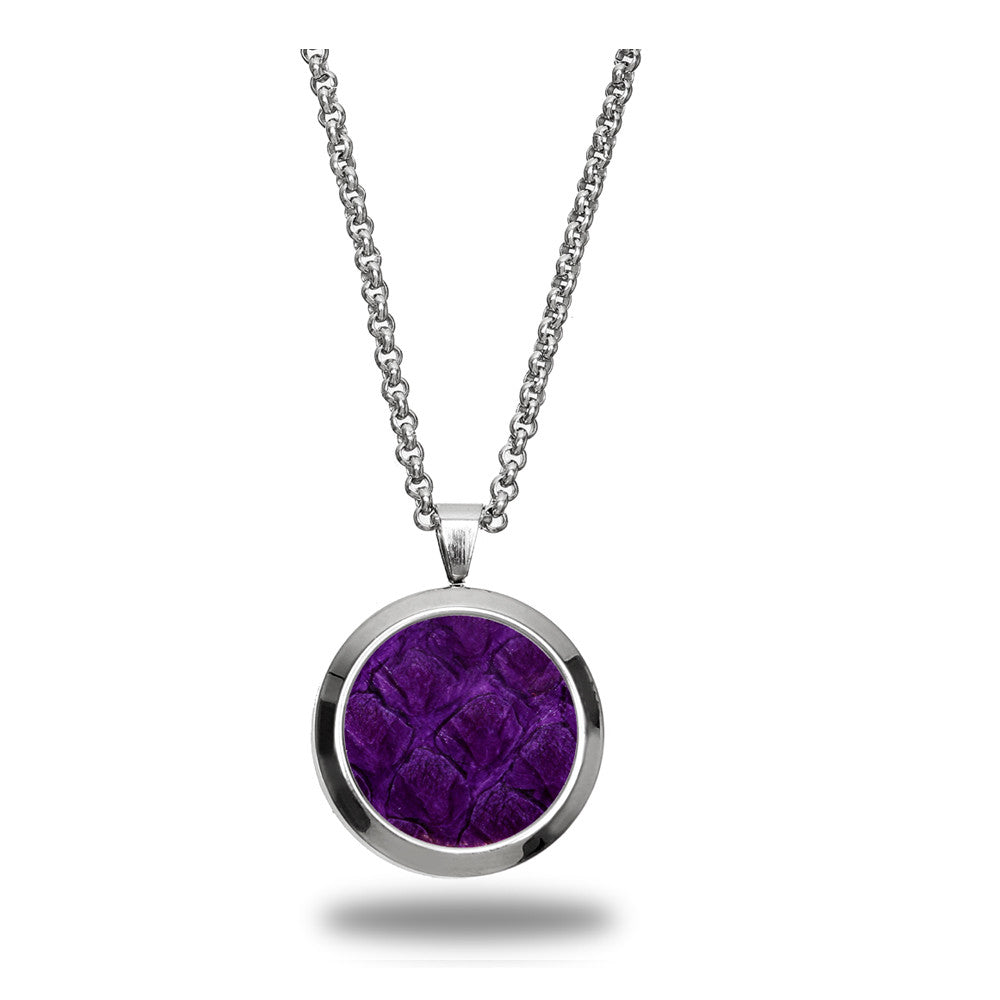 Atlantic Salmon Leather Pendant Silver-Tone ▪ Purple - Marlín Birna Ltd.