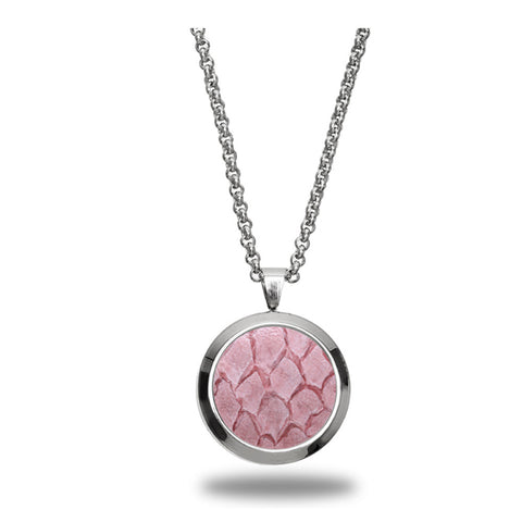 Atlantic Salmon Leather Pendant Silver-Tone ▪ Light Pink
