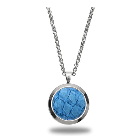 Atlantic Salmon Leather Pendant Silver-Tone ▪ Light Blue - Marlín Birna Ltd.