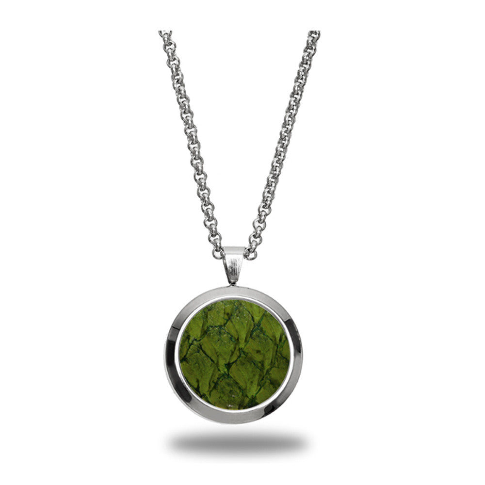 Atlantic Salmon Leather Pendant Silver-Tone ▪ Olive Green - Marlín Birna Ltd.
