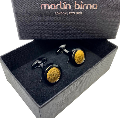 VEGAN Cufflinks ▪ Piñatex Pineapple Leaf Fibres ▪ Black and Gold - Marlín Birna Ltd.