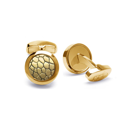 Genuine Ostrich Leather Cufflinks Gold-Tone ▪ Gold Metallic