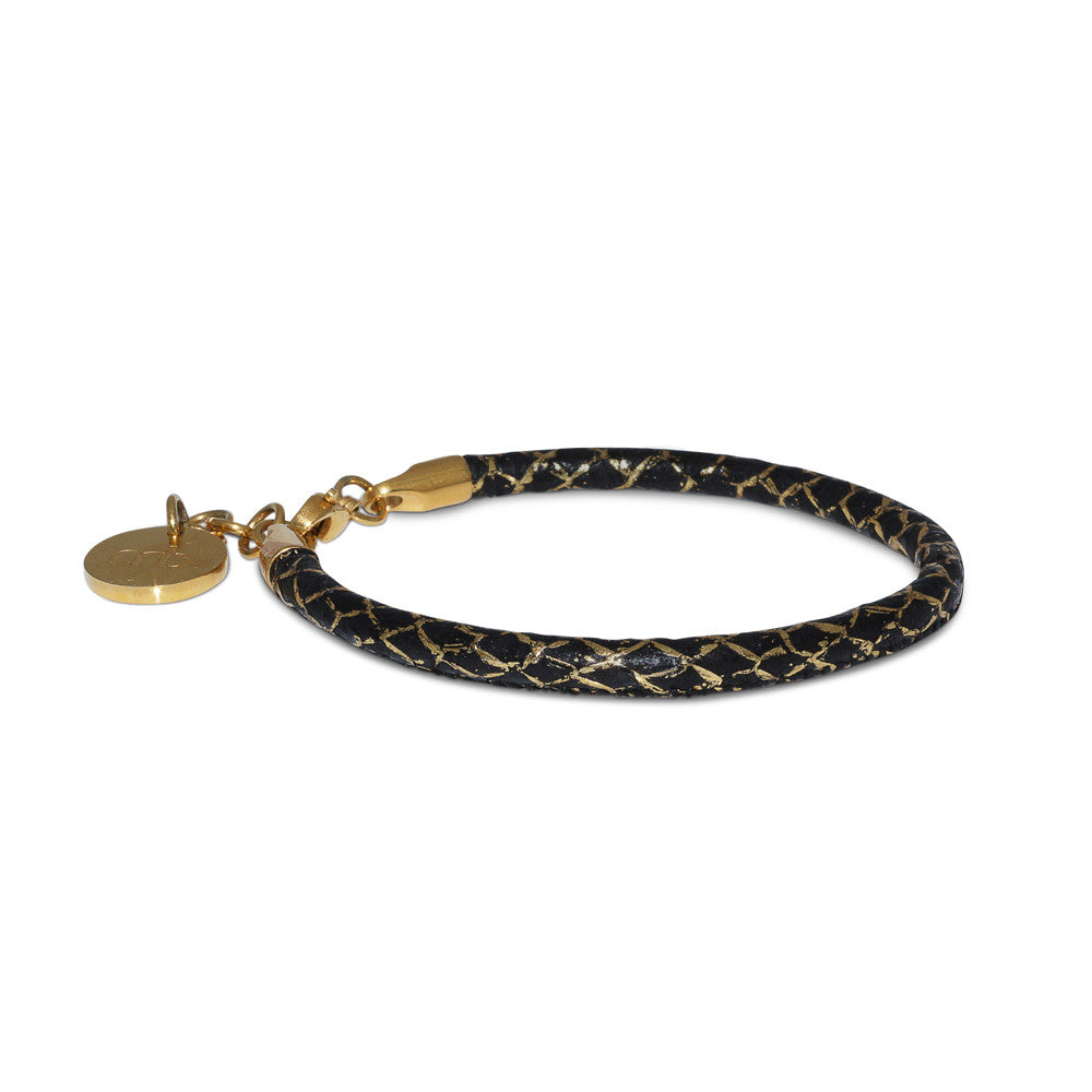 Atlantic Salmon Leather Single Cord Bracelet ▪ Black/Gold Matellic - Marlín Birna Ltd.