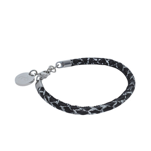 Atlantic Salmon Leather Single Cord Bracelet ▪ Black/Silver Matellic - Marlín Birna Ltd.