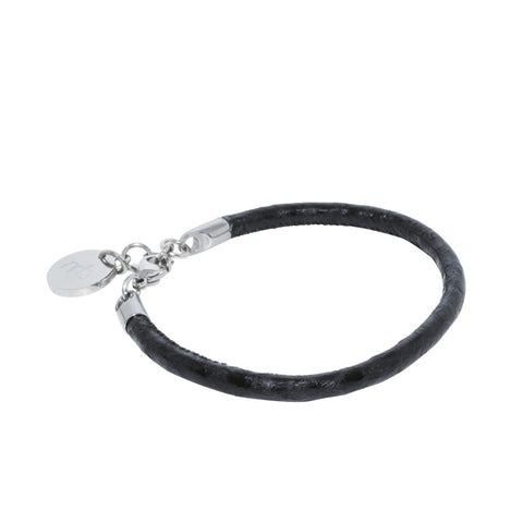 Atlantic Salmon Leather Single Cord Bracelet ▪ Black - Marlín Birna Ltd.