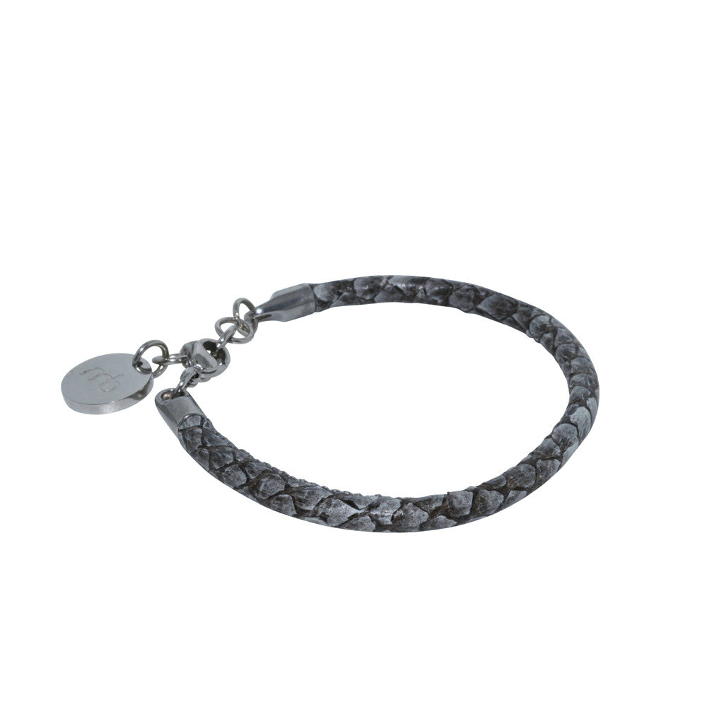 Atlantic Salmon Leather Single Cord Bracelet ▪ Gray - Marlín Birna Ltd.