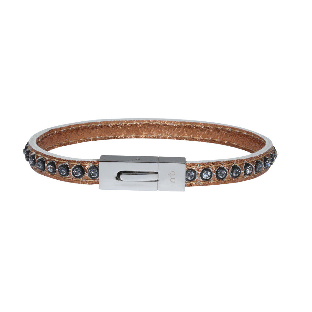 Genuine Leather Bracelet w/Zirconia ▪ Bonze - Marlín Birna Ltd.