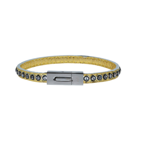 Genuine Leather Bracelet w/Zirconia ▪ Gold - Marlín Birna Ltd.