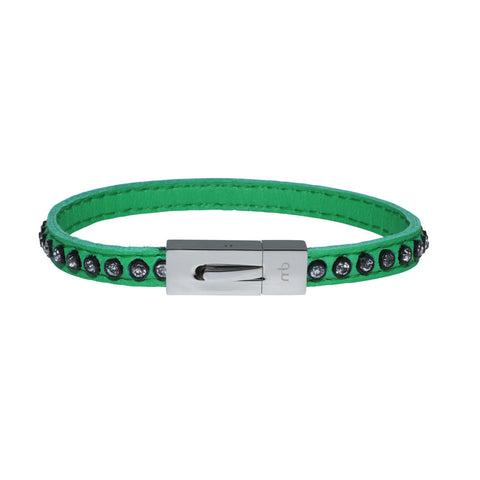 Genuine Leather Bracelet w/Zirconia ▪ Green - Marlín Birna Ltd.