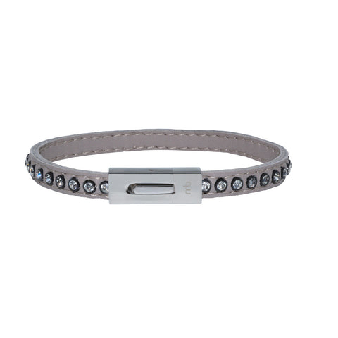 Genuine Leather Bracelet w/Zirconia ▪ Grey - Marlín Birna Ltd.