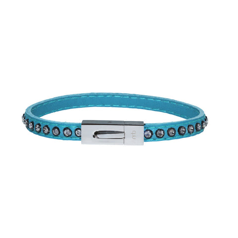Genuine Leather Bracelet w/Zirconia ▪ Blue - Marlín Birna Ltd.