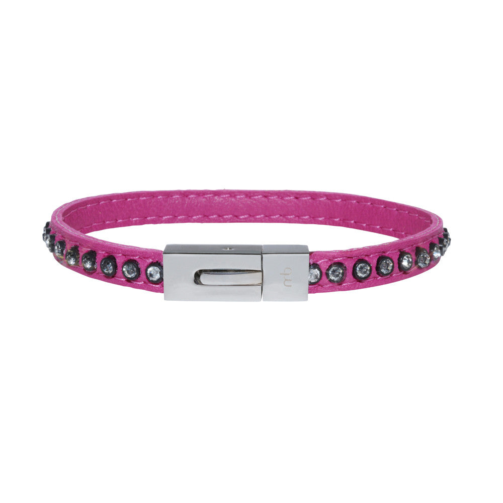 Genuine Leather Bracelet w/Zirconia ▪ Pink - Marlín Birna Ltd.