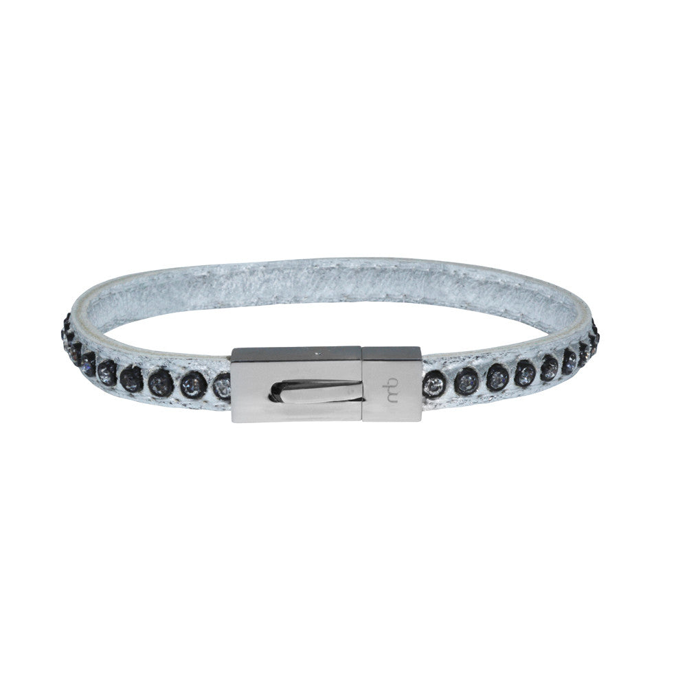 Genuine Leather Bracelet w/Zirconia ▪ Silver - Marlín Birna Ltd.