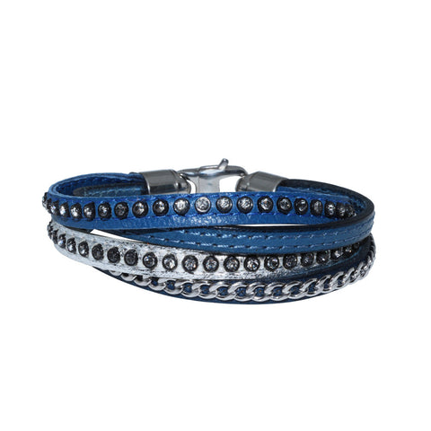 Genuine Leather Bracelet w/Chain and Zirconia ▪ Blue