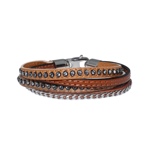 Genuine Leather Bracelet w/Chain and Zirconia ▪ Brown