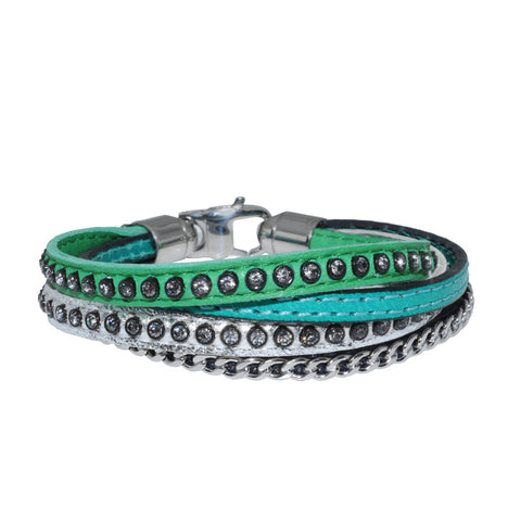 Genuine Leather Bracelet w/Chain and Zirconia ▪ Green