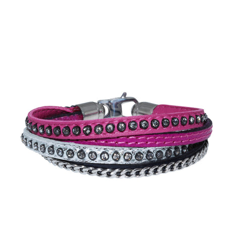 Genuine Leather Bracelet w/Chain and Zirconia ▪ Pink