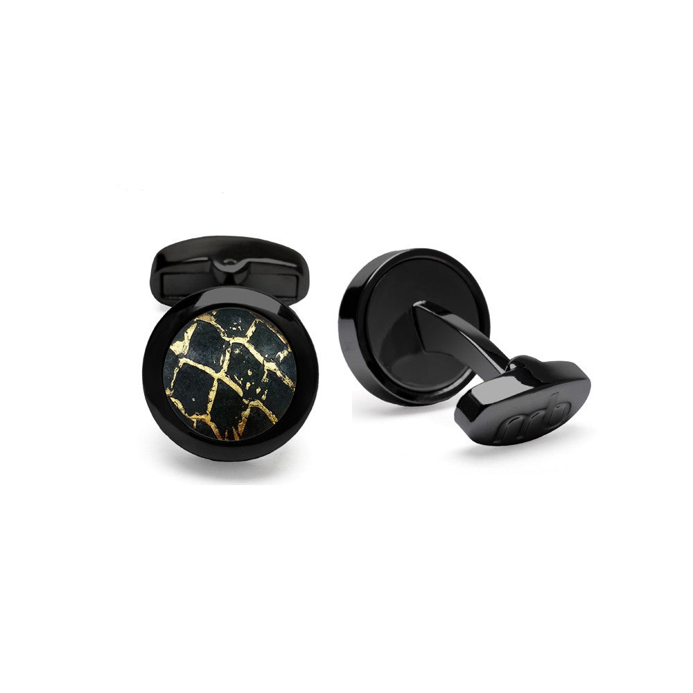 Atlantic Salmon Leather Cufflinks Black-Tone ▪ Black/Gold Metallic - Marlín Birna Ltd.