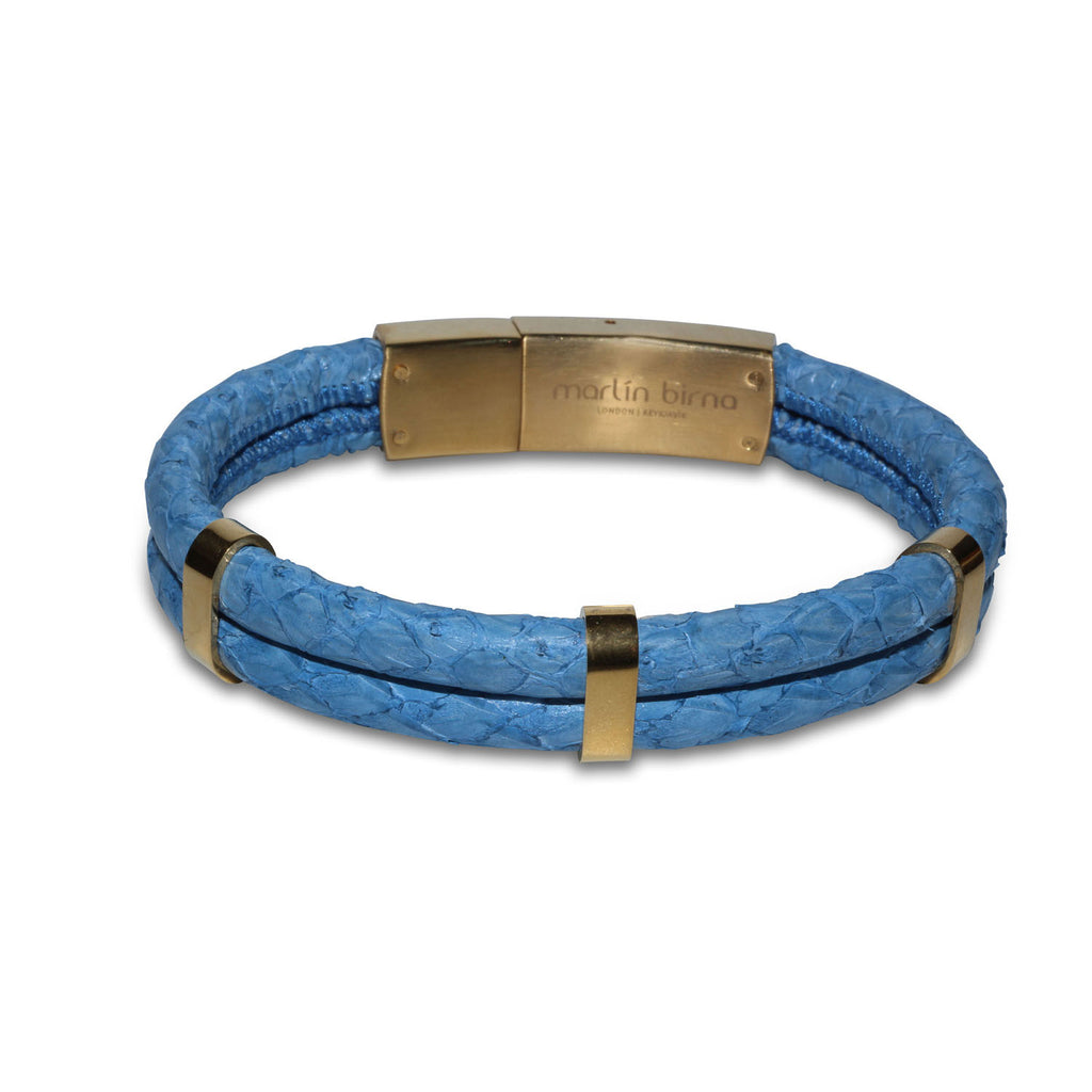 Atlantic Salmon Leather Double Cord Bracelet Gold-Tone ▪ Light Blue - Marlín Birna Ltd.
