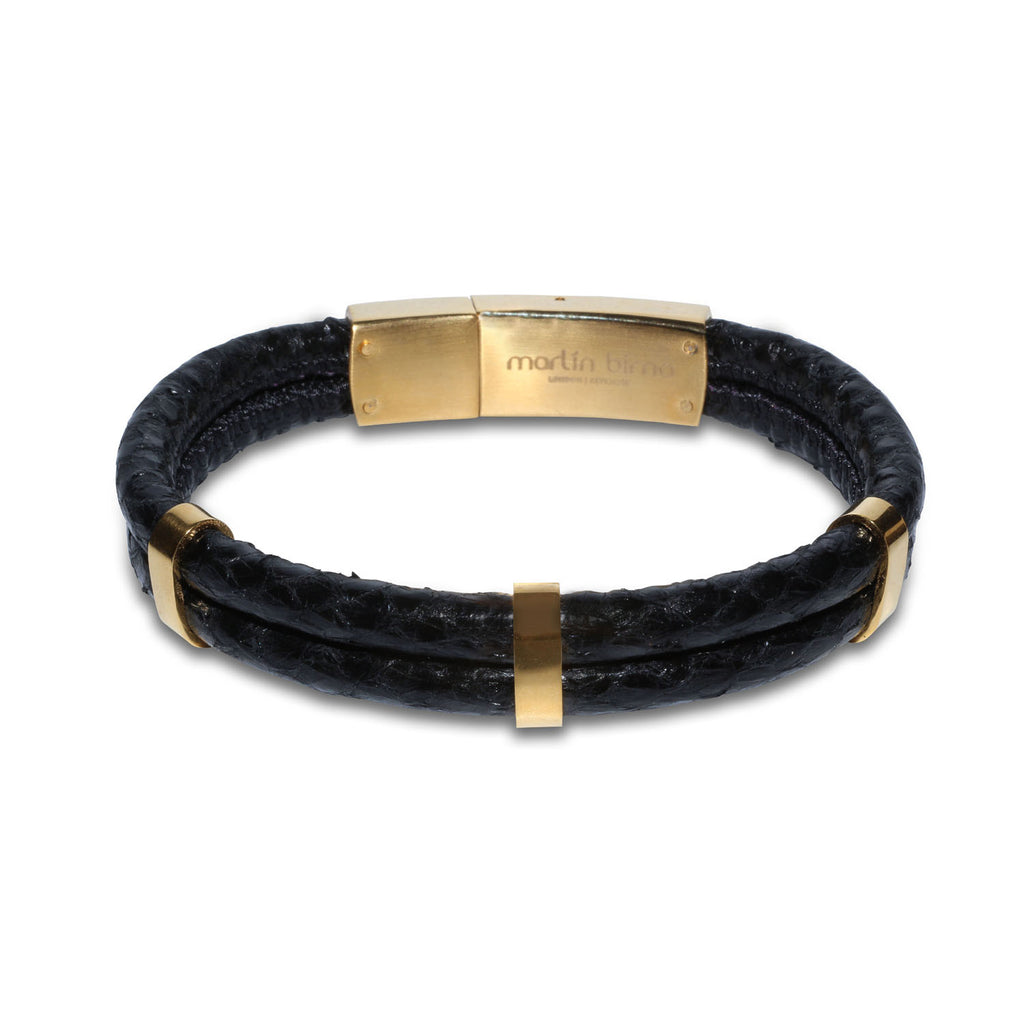 Atlantic Salmon Leather Double Cord Bracelet Gold-Tone ▪ Black - Marlín Birna Ltd.