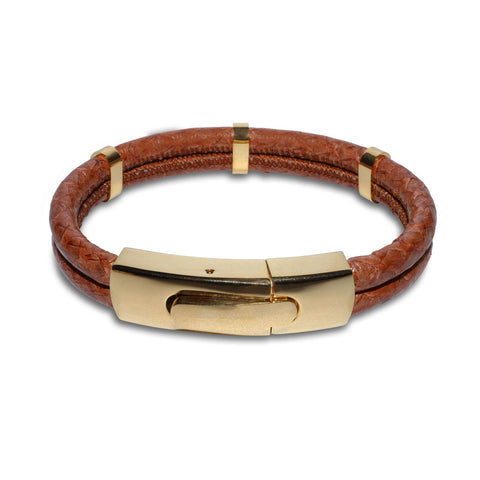 Atlantic Salmon Leather Double Cord Bracelet Gold-Tone ▪ Cognac - Marlín Birna Ltd.