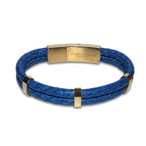 Atlantic Salmon Leather Double Cord Bracelet Gold-Tone ▪ Dark Blue