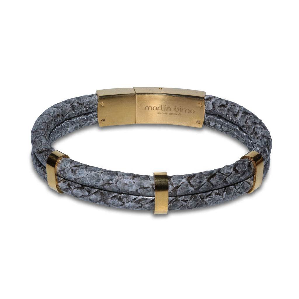 Atlantic Salmon Leather Double Cord Bracelet Gold-Tone ▪ Grey - Marlín Birna Ltd.