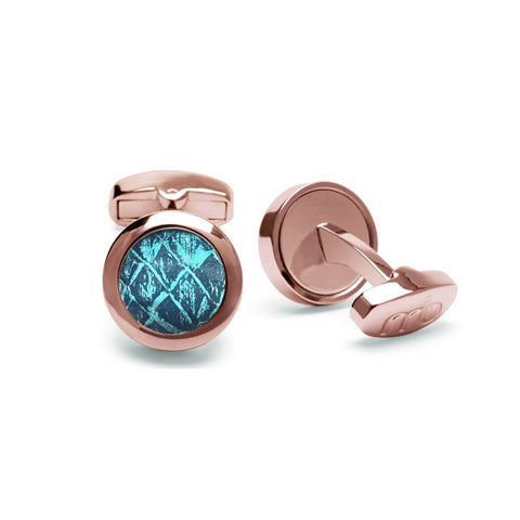 Atlantic Salmon Leather Cufflinks Rose Gold-Tone ▪ Blue/Metallic Blue - Marlín Birna Ltd.