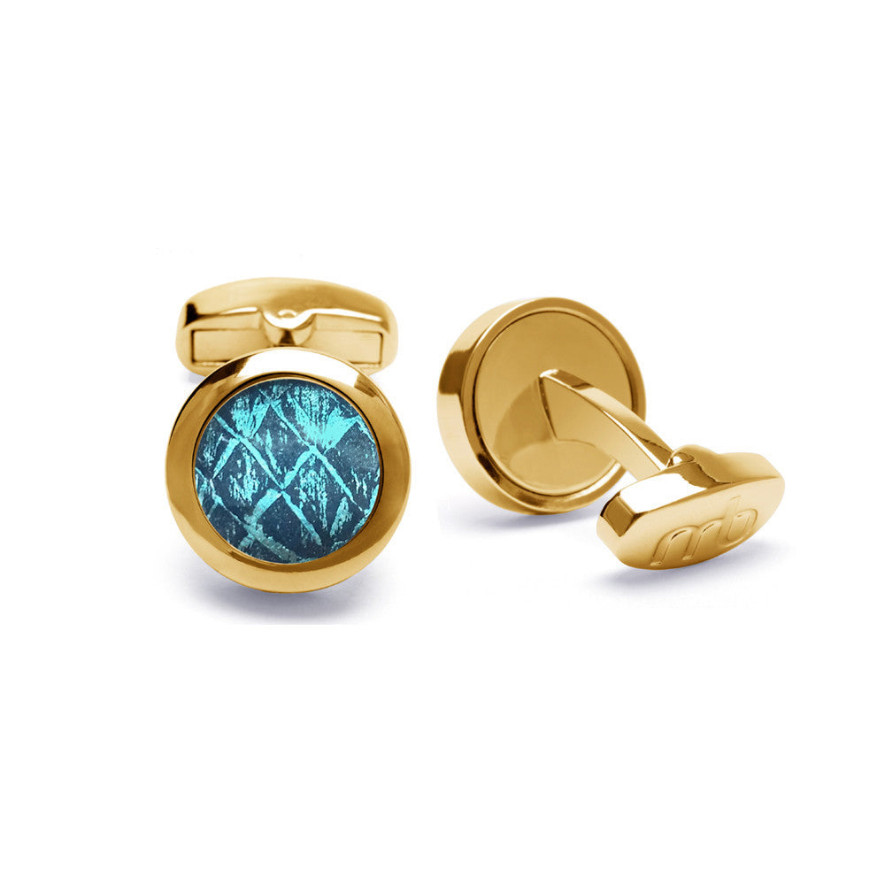Atlantic Salmon Leather Cufflinks Gold-Tone ▪ Blue/Blue Metallic - Marlín Birna Ltd.