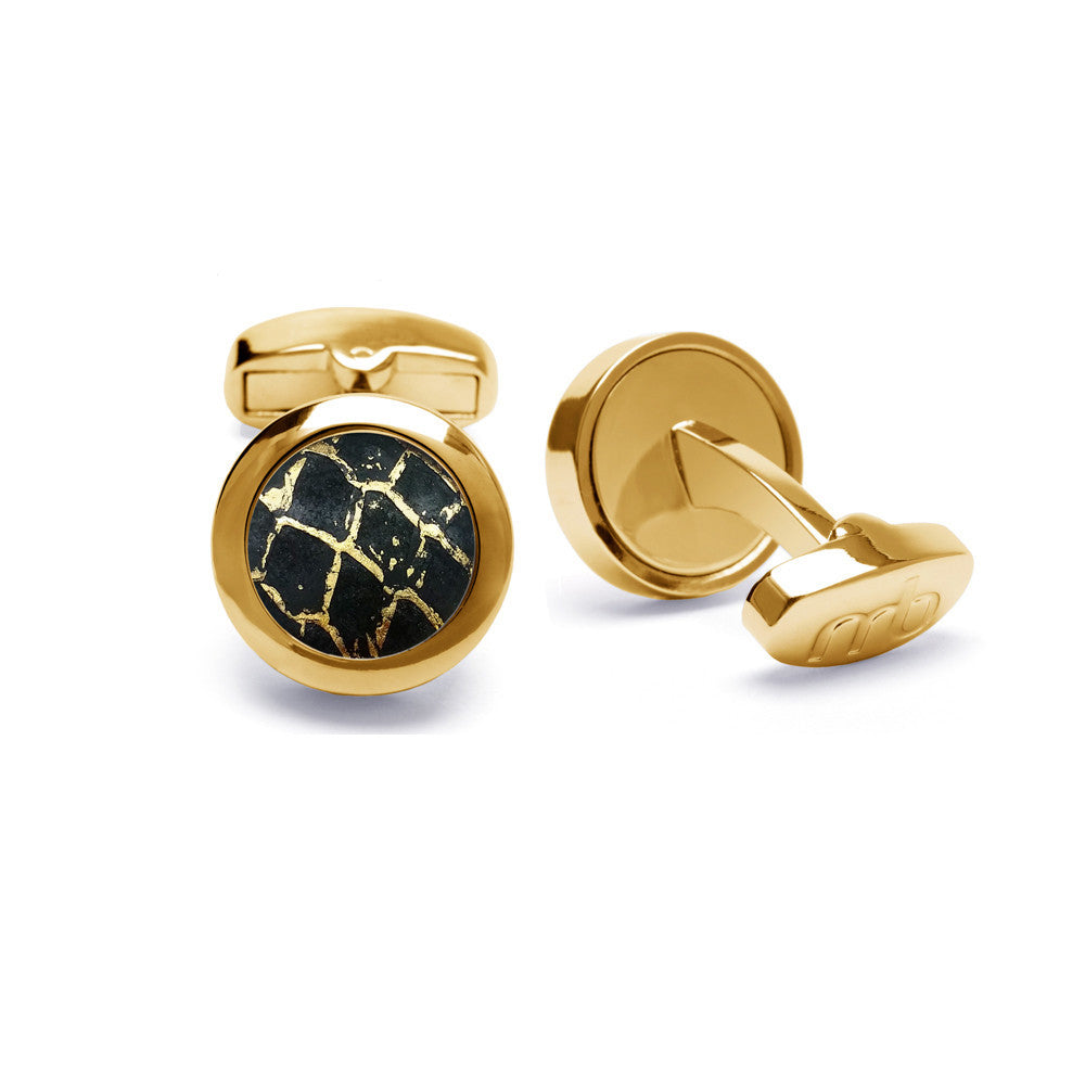 Atlantic Salmon Leather Cufflinks Gold-Tone ▪ Black/Gold Metallic - Marlín Birna Ltd.