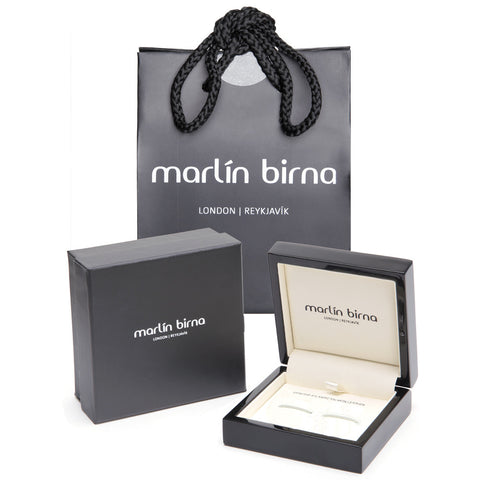 Atlantic Salmon Leather Cufflinks Silver-Tone ▪ Black/Silver Metallic - Marlín Birna Ltd.