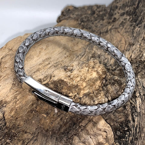 Atlantic Salmon Leather Cord Bracelet ▪ Grey - Marlín Birna Ltd.