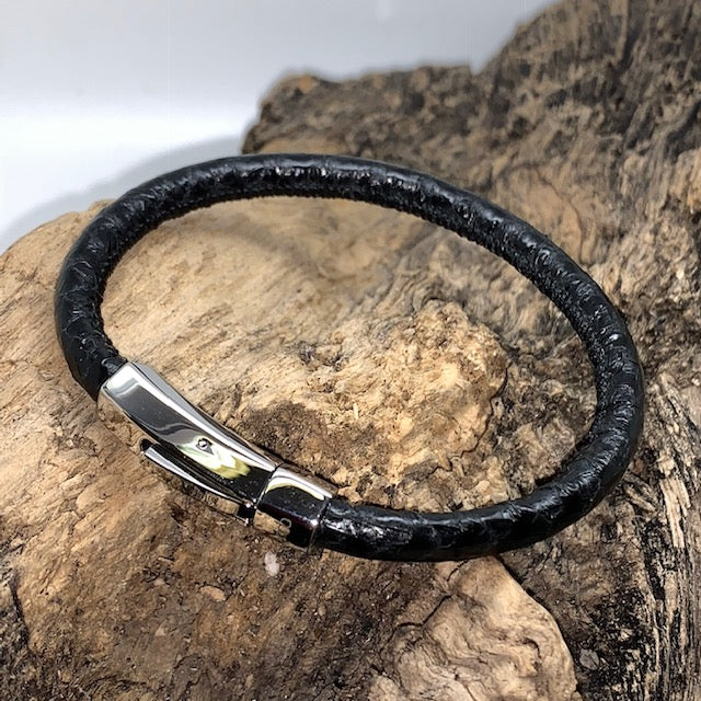 Atlantic Salmon Leather Cord Bracelet ▪ Black - Marlín Birna Ltd.