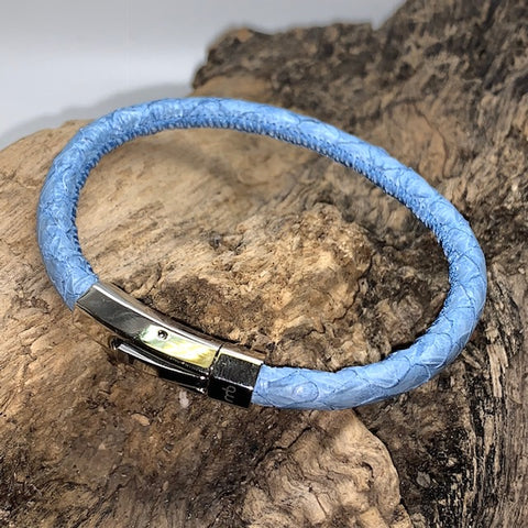 Atlantic Salmon Leather Cord Bracelet ▪ Light Blue - Marlín Birna Ltd.
