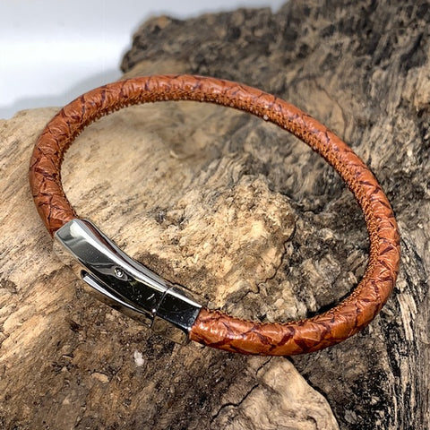 Atlantic Salmon Leather Cord Bracelet ▪ Cognac