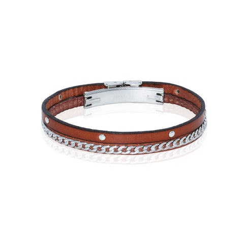 Genuine Leather Bracelet w/Chain and Studs ▪ Cognac