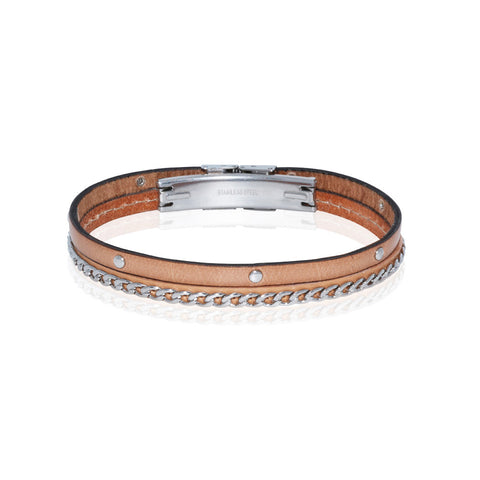 Genuine Leather Bracelet w/Chain and Studs ▪ Tan - Marlín Birna Ltd.