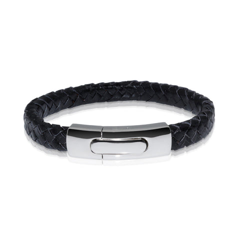 Braided Leather Bracelet ▪ Black - Marlín Birna Ltd.