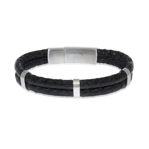Atlantic Salmon Leather Double Cord Bracelet  ▪  Black