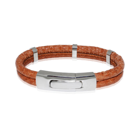 Atlantic Salmon Leather Double Cord Bracelet ▪ Cognac - Marlín Birna Ltd.