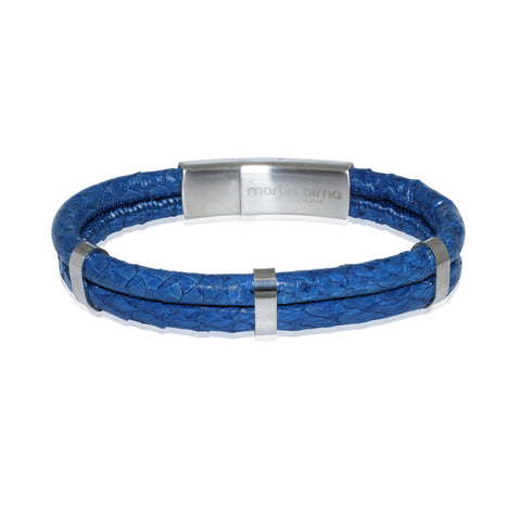 Atlantic Salmon Leather Double Cord Bracelet ▪ Dark Blue