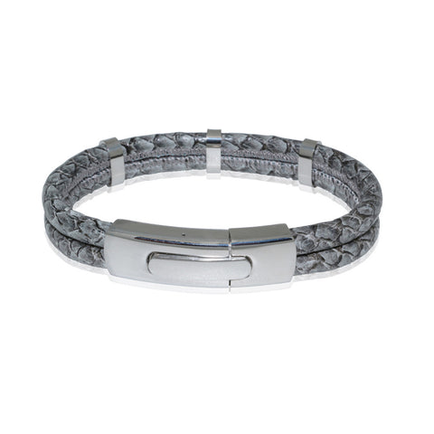 Atlantic Salmon Leather Double Cord Bracelet ▪ Grey - Marlín Birna Ltd.
