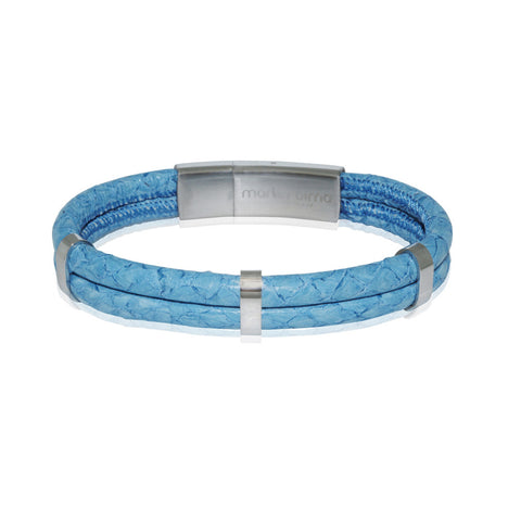 Atlantic Salmon Leather Double Cord Bracelet  ▪ Light Blue