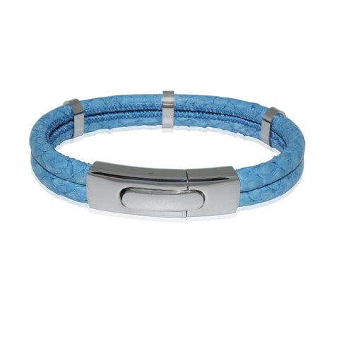 Atlantic Salmon Leather Double Cord Bracelet  ▪ Light Blue - Marlín Birna Ltd.